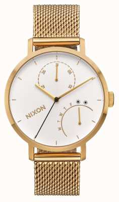 Nixon Embrague | todo dorado / blanco | pulsera de malla ip oro | esfera blanca A1166-504-00