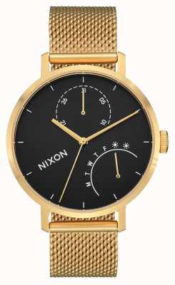 Nixon Embrague | dorado / negro | malla de acero ip oro | esfera negra A1166-513-00