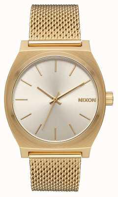 Nixon Cajero del tiempo milanesa | todo oro / crema | malla de acero ip oro | esfera crema A1187-2807-00