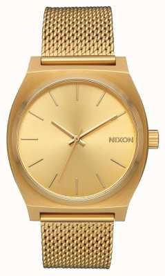 Nixon Cajero de tiempo milanesa | todo el oro | malla de acero ip oro | esfera de oro A1187-502-00