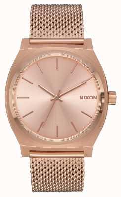 Nixon Cajero de tiempo milanesa | todo oro rosa | malla ip oro rosa | esfera de oro rosa A1187-897-00