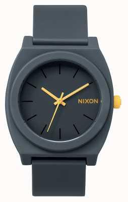 Nixon Cajero del tiempo p | gris acero mate | correa de silicona gris | esfera gris A119-1244-00