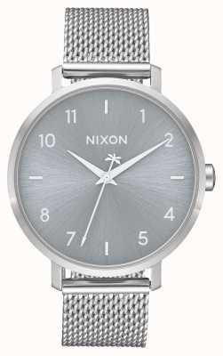 Nixon Arrow milanesa | todo plata | malla de acero inoxidable | esfera plateada A1238-1920-00