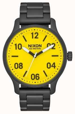 Nixon Patrulla | todo negro / amarillo | pulsera de acero ip negro | esfera amarilla A1242-3132-00