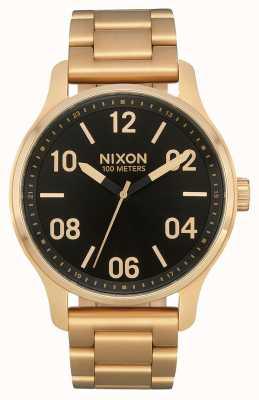 Nixon Patrulla | dorado / negro | pulsera de acero ip oro | esfera negra A1242-513-00