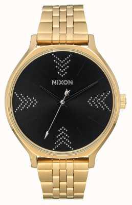 Nixon Clique | oro / negro / plata | pulsera de acero ip oro | esfera negra A1249-2879-00