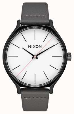 Nixon Cuero camarilla | negro / gris | correa de piel gris | esfera blanca A1250-007-00