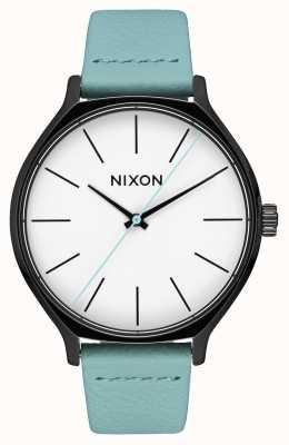 Nixon Cuero camarilla | negro / menta | correa de piel verde menta | esfera blanca A1250-3317-00