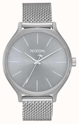 Nixon Clique milanese | todo plata | pulsera de malla de acero inoxidable | esfera plateada A1289-1920-00