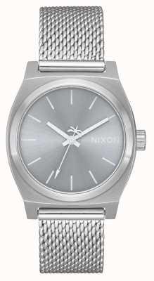 Nixon Cajero medio tiempo milanesa | todo plata | malla de acero inoxidable | esfera plateada A1290-1920-00