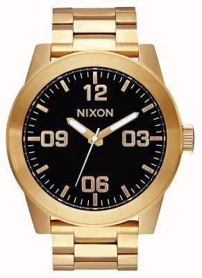 Nixon Corporal ss | todo dorado / negro | pulsera de acero ip oro | esfera negra A346-510-00