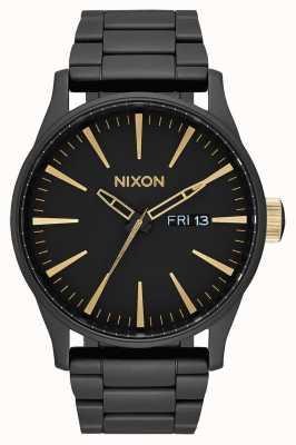 Nixon Sentry ss | negro mate / dorado | pulsera de acero ip negro | esfera negra A356-1041-00