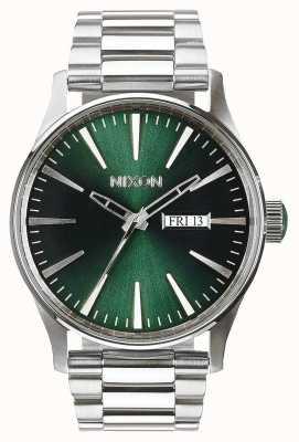 Nixon Sentry ss | rayo de sol verde | pulsera de acero inoxidable | esfera verde A356-1696-00