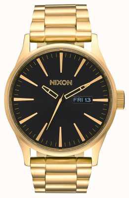Nixon Sentry ss | todo dorado / negro | pulsera de acero ip oro | esfera negra A356-510-00
