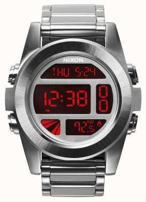 Nixon Unidad ss | plata / rojo | digital | pulsera de acero inoxidable A360-1263-00