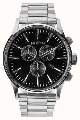 Nixon Crono centinela | negro | pulsera de acero inoxidable | esfera negra A386-000-00