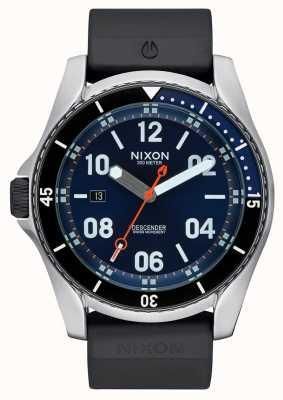 Nixon Deporte de descenso | rayo de sol azul | correa de silicona negra | esfera azul A960-1258-00