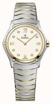 EBEL Clásico deportivo femenino | pulsera de acero inoxidable bicolor | esfera de marfil 1216418A