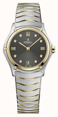 EBEL Clásico deportivo femenino | pulsera de acero bicolor | esfera de diamante gris 1216419A