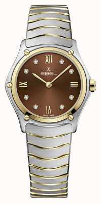 EBEL Clásico deportivo femenino | pulsera de acero inoxidable bicolor | esfera marrón 1216445A
