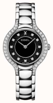 EBEL Beluga de las mujeres | pulsera de acero inoxidable | esfera negra | conjunto de diamantes 1216466