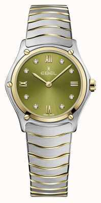 EBEL Clásico deportivo femenino | pulsera de acero bicolor | esfera verde 1216473A