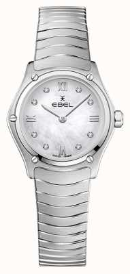 EBEL Clásico deportivo femenino | pulsera de acero inoxidable | esfera plateada con diamantes 1216474A
