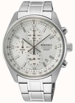 Seiko Pulsera de acero inoxidable para hombre | esfera de cronógrafo blanco SSB375P1