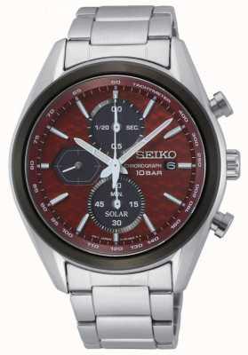 Seiko Solar para hombres | pulsera de acero inoxidable | esfera de cronógrafo roja SSC771P1