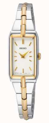 Seiko Pulsera de acero bicolor para mujer   esfera blanca SWR044J8