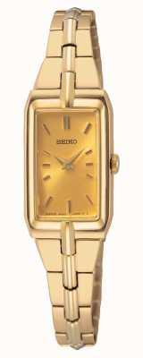 Seiko Brazalete de acero dorado para mujer   esfera de oro SWR048J8