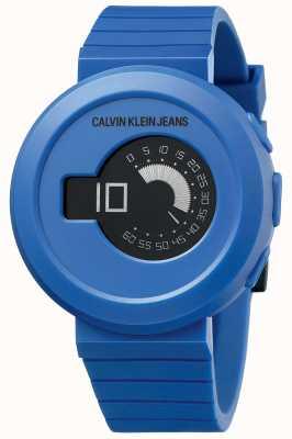 Calvin Klein Digirock de los hombres | correa de silicona azul | esfera negra KAN51YV1