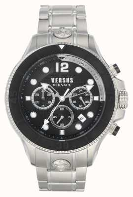 Versus Versace Volta masculino versus | pulsera de acero inoxidable | esfera negra VSPVV0420