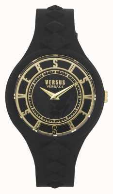 Versus Versace Isla de fuego de las mujeres   correa de silicona negra   esfera negra VSP1R1020