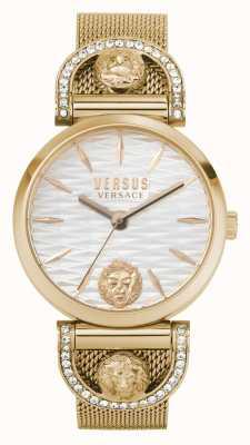 Versus Versace Iseo de la mujer | pulsera de malla de oro rosa | esfera blanca VSPVP0720