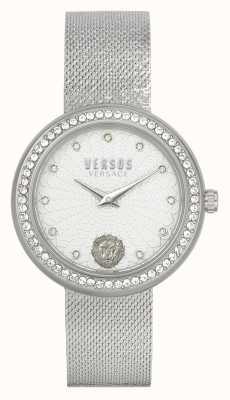 Versus Versace   mujer   lea   acero inoxidable   pulsera de malla   esfera plateada   VSPEN1420