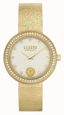 Versus Versace   mujer   lea   pulsera de malla de oro   esfera de champán   VSPEN1520