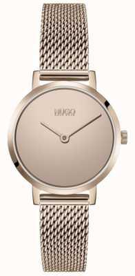HUGO #cherish | pulsera de malla de pvd de oro rosa | esfera de oro 1540085