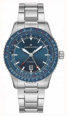 Hamilton Convertidor de aviación de color caqui auto gmt | pulsera de acero inoxidable H76715140
