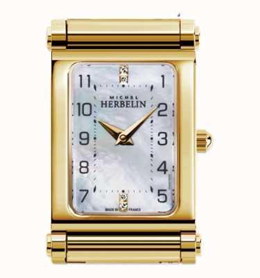 Michel Herbelin Antarès | esfera de reloj chapada en oro solamente | esfera rectangular H.17048/P79
