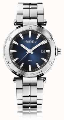 Michel Herbelin Newport de hombres | pulsera de acero inoxidable | esfera azul 12288/B15