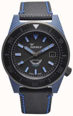 Squale Estilo de carbono | esfera negra / azul | correa de microfibra negra - costuras azules T183BL-CINT183BL