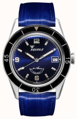 Squale 60 años azul | sub-39 | correa de cuero azul | esfera azul SUB39BL-CINSQ60BL
