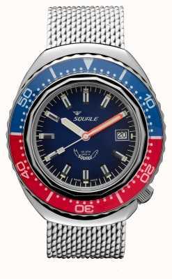 Squale 2002a azul-rojo | correa de malla de acero | esfera azul B083401-CINSS22