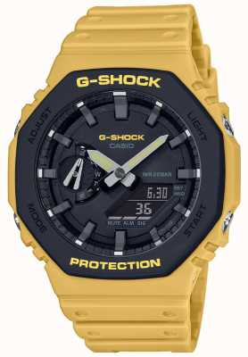 Casio | g-shock | núcleo de carbono | bisel en capas | correa de caucho amarilla | GA-2110SU-9AER