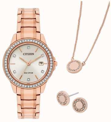 Citizen Set de regalo con reloj y joyería eco-drive chapado en oro rosa FE1173-52A