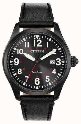 Citizen Unidad ecológica militar de guarnición de hombres | correa de cuero negro BM6835-15E