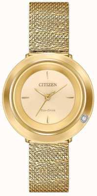 Citizen Ambiluna de mujer | pulsera de malla en tono dorado | esfera de champán EM0642-52P
