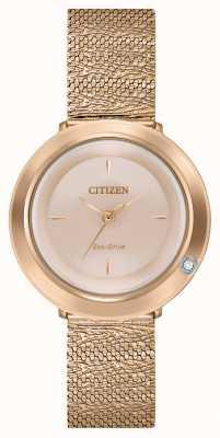 Citizen Ambiluna de mujer | pulsera de malla de oro rosa | esfera de nácar EM0643-50X