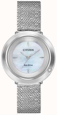 Citizen Ambiluna de mujer | pulsera de malla de acero | esfera de nácar EM0640-58D